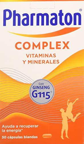 Pharmaton Complex, Multivitamínico con ginseng, 30 cápsulas, Ayuda a recuperar la energía (653231)