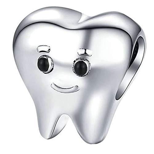 Zahn Freund Charm mit Emaille für Pandora 925 Sterling Silber