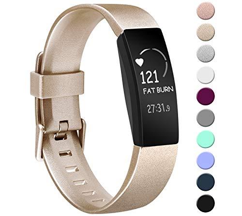 Amzpas Kompatibel mit Fitbit Inspire/Fitbit Inspire HR Armband, Weiches TPU Ersatzband Uhrenarmband Zubehör für Fitbit Inspire/Inspire HR Fitness Tracker (02 Gold, S)