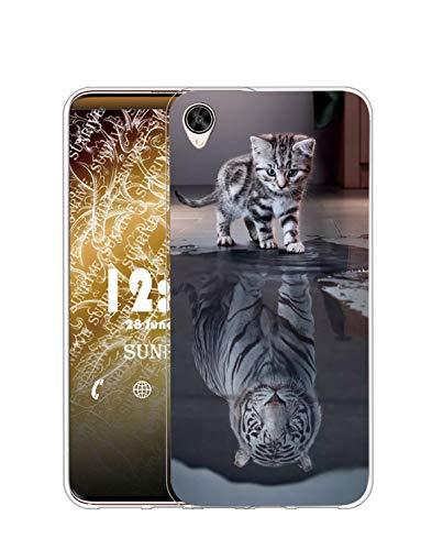 Sunrive Für Sony Xperia X Performance Hülle Silikon, Transparent Handyhülle Schutzhülle Etui Hülle für Sony Xperia X Performance(TPU Tiger Katze)+Gratis Universal Eingabestift MEHRWEG