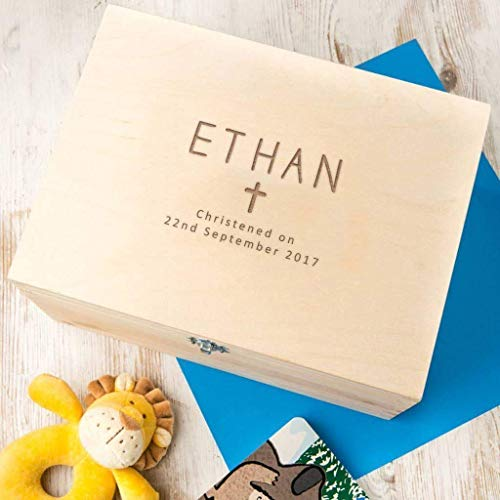 Personalised christening new baby gift box foil print gold  silver name date with ribbon tab