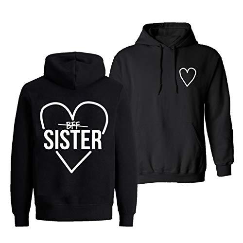 Best Friends Pullover für Zwei Mädchen Beste Freunde Hoodie für Sister Freundin Schwester Kapuzenpullover Damen Pulli BFF Geschenke Sister Pullover Set (BFF - Schwarz - 1 Stück, XXXL)
