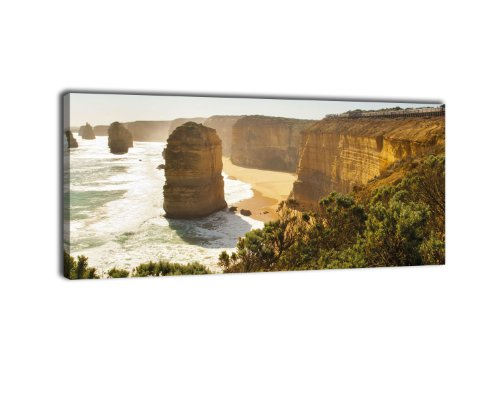 wandmotiv24 Leinwandbild Panorama Nr. 390 zwölf Apostel 100x40cm, Keilrahmenbild, Bild auf Leinwand, Kalkstein Australien Küste