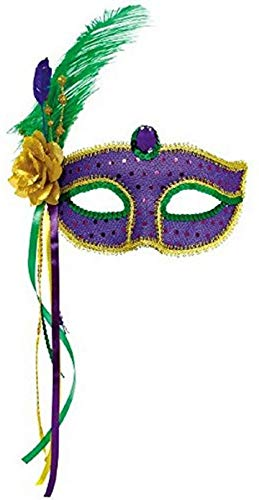 Amscan 360152 Mardi Gras Fashion Feather Masquerade Mask, 1ct...