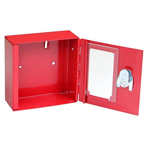 FELGNER Notschlüsselkasten TS 1010 - rot - Notschlüsselbox mit Glasscheibe - 100x100x40mm - inkl. 2 Schlüssel - zur Wandmontage