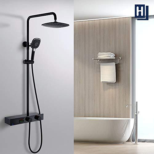 HOMELODY Schwarz Duschsystem mit LED Temperatur-Anzeige,Duscharmatur Regendusche,Duschsäule mit Regal,3 Funktionen Duschset,Überkopfbrause,Edelstahl Verstellbarer Duschstange für Badezimmer Dusche