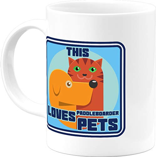 Extreme Sports Gift Retro Cute This Paddleboarder Loves Pets 11 Oz Coffee Mug Cool Ideas For Mom Dad Him Her Best Thanksgiving Christmas Office Cups