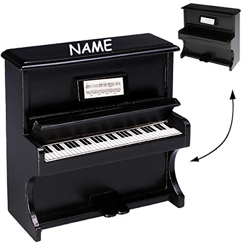 alles-meine.de GmbH Miniatur Klavier -  Holz - schwarz  - inkl. Name - Maßstab 1:12 - Puppenhaus - Piano aufklappbar - Pianino - Musikinstrument Musik Instrument - Pianoforte T..