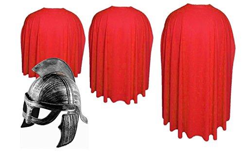 The Dragons Den Rojo Esparta Cabo & casco Sparta Warrior Roman Greek Gods Fancy Dress 300[Rojo,48']