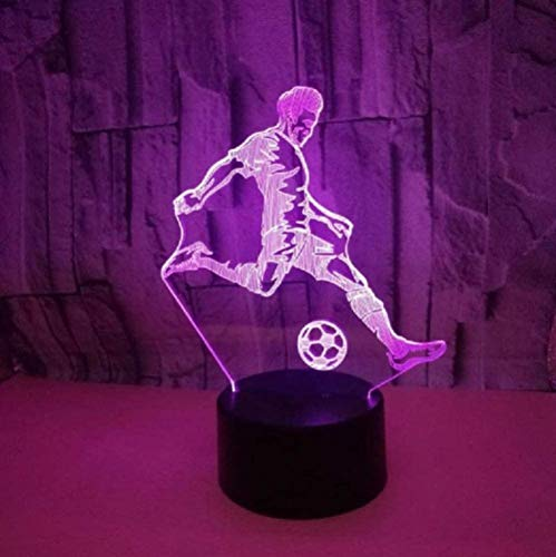 Modelo de jugador de fútbol 3D Luz nocturna Toque colorido Luz LED Visual Estéreo Decoración del hogar Ventiladores Cumpleaños Navidad Año nuevo Regalo novedoso