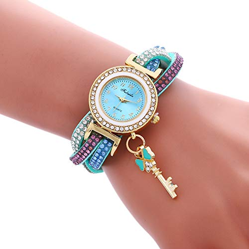 G-rf 3 PCS Damen Padlock Multicolor Armband-Quarz-Uhr mit Diamant (weiß) (Color : Lake Blue)