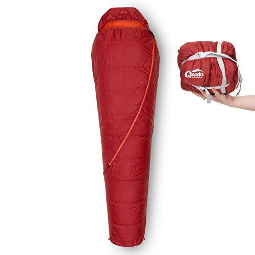 Qeedo Hitazo Schlafsack, Mumienschlafsack, leicht, kleines Packmaß, 225x80 cm (LxB) - rot