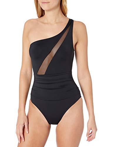 La Blanca Women's Bandeau One Piece Swimsuit, Black//Mesh-Merizing, 12