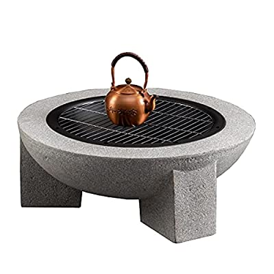 Fire Pit Wood-Burning fire Pit, 30-inch fire Pit, Spark Screen, Courtyard Garden Cooking Barbecue Brazier from Lijack