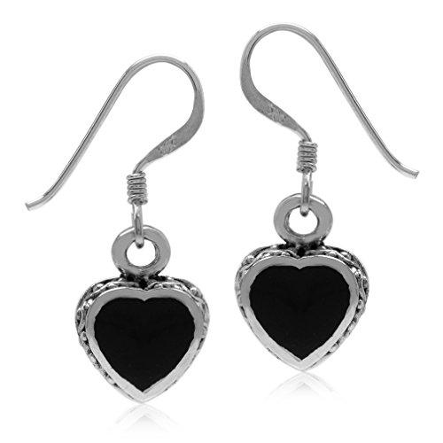 Silvershake Heart Shape Created Black Onyx Inlay 925 Sterling Silver Dangle Hook Earrings