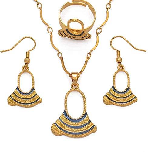 Azul Papua Nueva Guinea esmalte perla colgante collares pendientes anillo mujer niña Png conjunto de joyas de boda longitud 60Cm