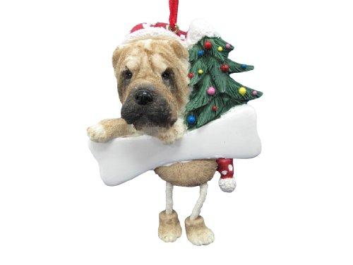 Sharpei - Adorno de Navidad con diseño de Patas Colgantes, Pintado a Mano y fácilmente Personalizado