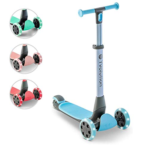 Yvolution Y Glider Nua | Three Wheel Foldable Kick Scooter for Kids with Storage Accessory for Children Ages 3+ Years… (Blue)
