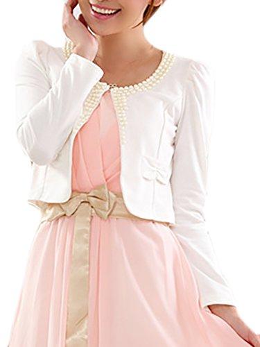 Saoye Fashion Damen Bolero Für Abendkleid Festlich Elegant Langarm Perlen Zu Abendkleid Kleid Vintage Bolerojacke Hochzeitsjacke Abendjäckchen Blazer Große Größen