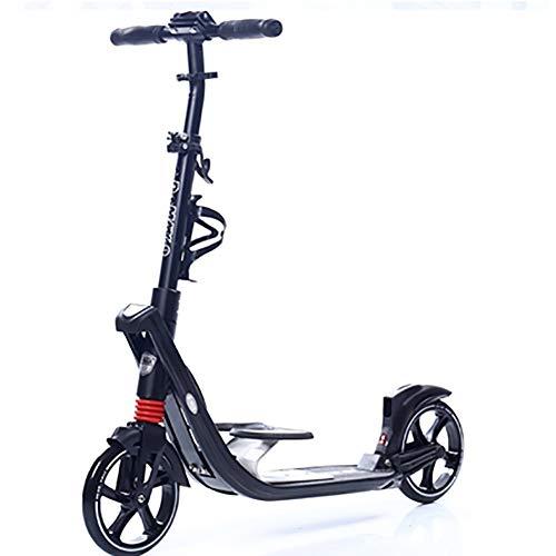 Patinetes Kick Scooter for Adultos con Pedal for Niños, Suspensión Doble, Peso Liviano, Soporte de Construcción, 100 Kg de Peso Ajustable En Altura (Color : Black)