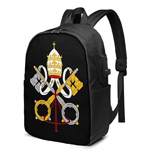 XCNGG Mochila de Viaje para Ordenador portátil con Emblema Nacional de la Ciudad del Vaticano, Mochila de Viaje con Puerto de Carga USB y Puerto para Auriculares de 17 Pulgadas