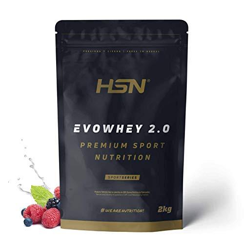 Concentrado de Proteína de Suero Evowhey Protein 2.0 de HSN | Whey Protein Concentrate| Batido de Proteínas en Polvo | Vegetariano, Sin Gluten, Sin Soja, Sabor Frutas del Bosque, 2Kg