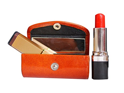 The StoreKing Rakhi Geschenk-Leder-Lippenstift-Etui – Organizer Tasche für Geldbörse, Lippenstifthalter – strapazierfähiges weiches Leder – Kosmetik Aufbewahrungs-Set mit Spiegel für Mädchen