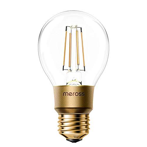 meross Lampadina Intelligente Wifi LED Dimmerabile E27 A19 Vintage Edison, Smart Light compatibile con SmartThings, Alexa, Google, 6W Equivalente 60W