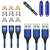 E-BOX マグネットケーブル 3A 急速充電 データ転送 3in1 充電ケーブル 1m×3本 MicroUSB ライトニング TypeC ケーブル (3本セットブルー)
