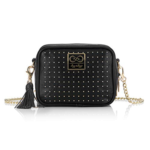 Chelsea + Cole for Itzy Ritzy Crossbody Diaper Bag - Studded Double Take Crossbody Diaper Bag Includes 6 Pockets, Changing Pad & Tassel; Black with Sweetheart Print Interior and Gold Hardware