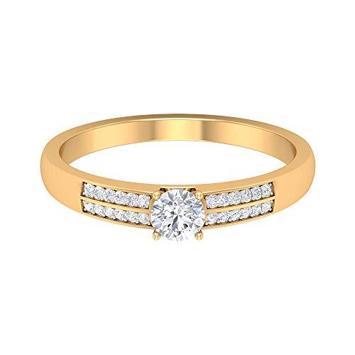 ¿Joyas Rosec? Anillo de compromiso solitario, anillo de piedra lateral con diamante HI-SI de 0,35 quilates, 14K Oro amarillo, Size:EU 46