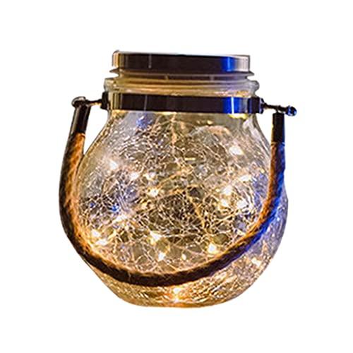 Wenyounge Linterna Solar Lámpara Colgante al Aire Libre Luz de Vidrio LED Lámpara de Grietas solares de Hadas Luz de jardín de Vidrio para Fiesta