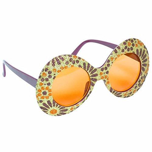 amscan Fashionably Fun Party Feeling Groovy Funshades Accessory, plástico, paquete de 4 accesorios, oro/morado