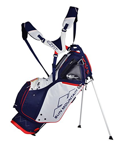 Sun Moutain Golf 2019 4.5 LS 14-Way Stand Golf Bag NAVY-WHITE-RED...