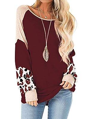 Ezcosplay Women Leopard Print Patchwork Shirt Round Neck Colorblock Tunic Blouse Beige