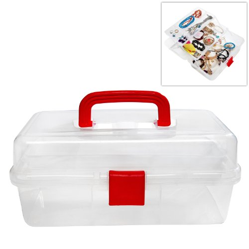 MyGift Clear Multi Trays Craft Supply Case/First Aid Storage Container Box w/Red Top Handle & Lock