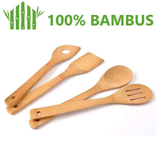 basil   Juego Utensilios de Cocina Bambú - Accesorios Cocina de Madera Ecológicos para Cocinar y Servir Alimentos - Juego de 4 Cubiertos: Cuchara, Espátula, Cucharón y Cuchara para Pasta y Ensalada