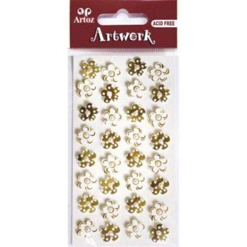 Artoz Artwork 3D Motiv-Sticker, 'kleine Blümchen gold/crème', (mit weißer Perle verziert)