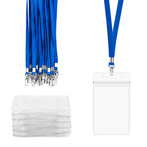 Lanyard with ID Holder Vertical, 50 PCS Segarty Waterproof ID Card Holder with Lanyard Bulk, Plastic Work Name Badge Holder with Necklace String for Classroom Kids College Nurses Teachers Men Women