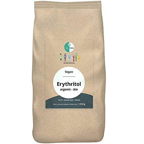 Go-Keto Eritritol orgánico, 1000g | sustituto del azúcar sin calorías, comparablemente dulce como el azúcar, agradable para los dientes | alternativa de azúcar para la dieta keto | vegano, low carb