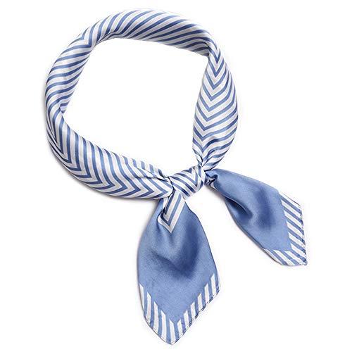 LITOON LITOON Kopftücher Damen Halstuch Schal Frauen Kopftuch Taschentuch, Ansatz Handgelenk Verpackungs Silk Halstuch Bandanas Stirnband für Mädchen Frauen 27.6x27.6inch (Streifen/Light Blue)
