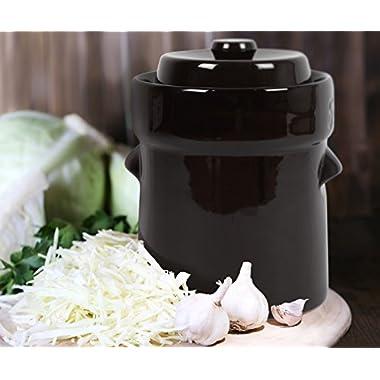 Kenley Fermentation Crock Jar 5 Liter & Pounder - 1.3 Gallon Fermenting Pickling Pot for Healthy Kimchi Sauerkraut Pickles Fermented Vegetables - Stoneware Ceramic Fermenter with Weights & Lid