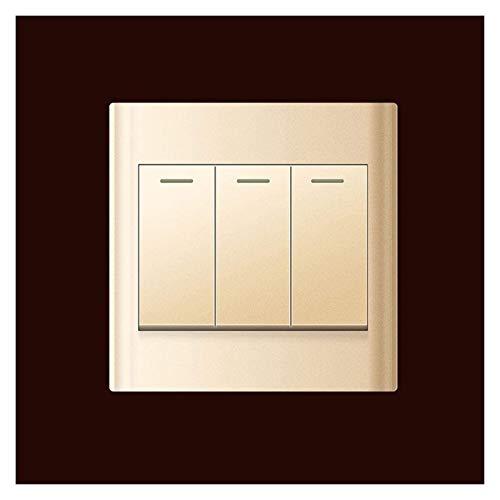 Champagne Golden Rocker Switch Placa 86 Tipo Panel del interruptor de la pared de la PC a prueba de polvo con el indicador fluorescente Luz de la llave duradera de la luz Interruptor de la llave incru