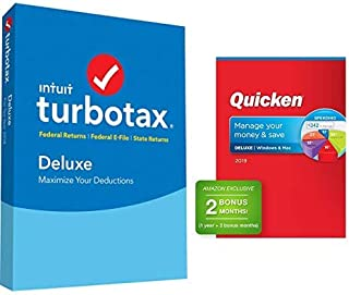 TurboTax Deluxe + State 2018 Fed Efile PC/MAC Disc with Quicken Deluxe 2019 Personal Finance Software 1-Year + 2 Bonus Months
