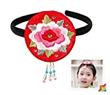 Hair Accessory Korea Girl Baby Hanbok Head Band Piece Traditional Embroidered Flower Red Rose