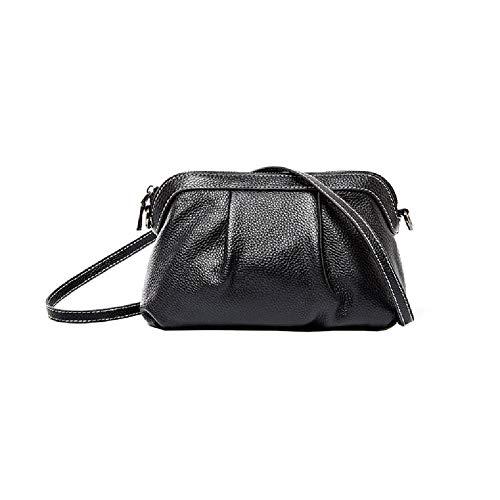 Valin Damen Leder Handtasche Casual Bowlingtasche Weich Schwarz Umhängetasche,22x8.5x14.5