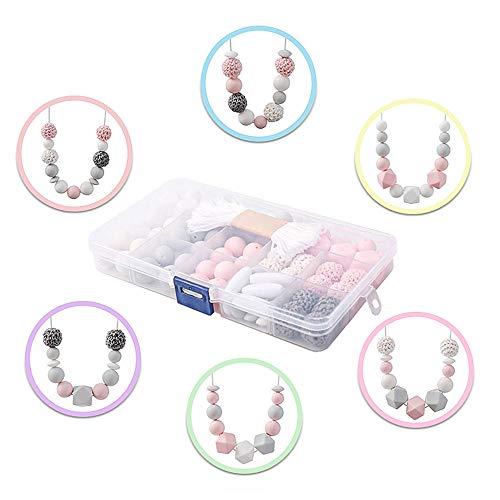 DIY Cuentas Kit de Bolas de Bebé,silicona orgánicos Chupeteros Cuentas de Dentición Masticación Bricolaje Granos de Madera (Rosa Pastel)