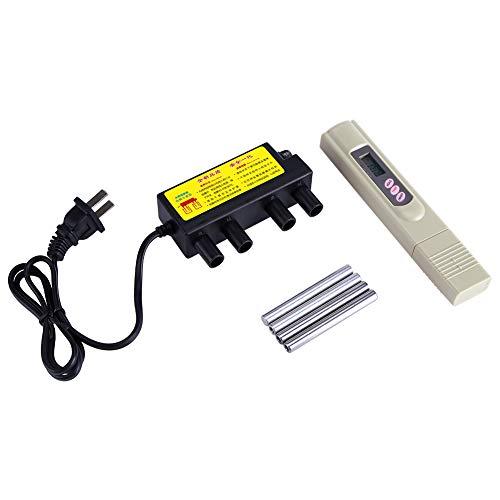 Deror Wasserqualitätsprüfgerät, Elektrolyseur Schnelle Wasserqualitätsprüfung Elektrolyse-Eisenstangen + Digitales TDS-Prüfgerät Ca. 245 g(mit Adapter)
