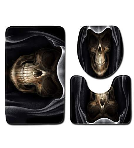 SXMXN King Totenkopf Krone Poker Badezimmer 3 Sets Toilettenvorleger + Deckel WC-Deckelbezug + Badteppich Fußmatte Rutschfester Teppich,D,80 * 50