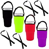Set of 4 Tumbler 30oz Carrier Holder Pouch with Shoulder Strap, Fit for YETI, Rtic, Atlin, Ozark Trail, Rambler 30 oz Insulated Tumbler Coffee Cup, Neoprene Sleeve with Carrying Handle